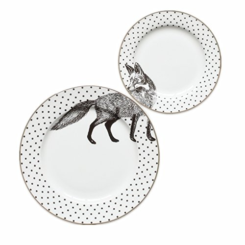 Huayoung Set of 2 Creative Animal Ceramic Bread Dessert Plates 6/8-inch Flat Plates (Wolf) by Huayoung
