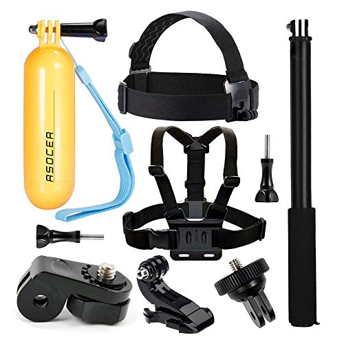 ASOCEA Action Camera Accessory Bundle Kit Chest Mount + Head Strap + Floating Handle Grip + Selfie Stick Compatible Gopro Hero7/ 6/5 AKASO APEMAN YI 4K SJ4000 Vivitar VTech Kidzoom Sport Camera