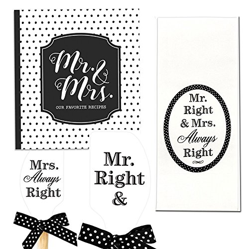 Brownlow Mr. & Mrs. Recipe Binder, Kitchen Towel & Silicone Spatula for Wedding or Shower Gift Bundle, 3 Items (Recipe Towel)