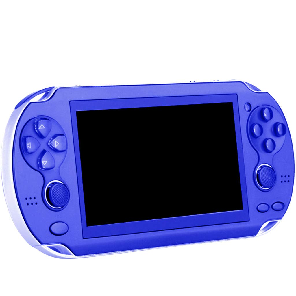 Chercherr X7 Handheld Game Console Kids Adults, Retro Game Console Portable Handheld Game Player Built-in 800 Game joystick, Home Travel Portable Gaming System Childrens Tiny Toys Digital (Blue)