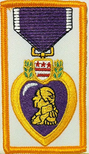 Medal Military Heart (Purple Heart Medal Embroidered Iron-on Patch Military Honor Emblem Gold Border)