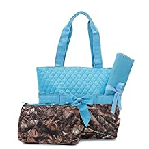 Quilted Camouflage Diaper Bag Baby Changing Pad Cosmetic Bag Turquoise Blue