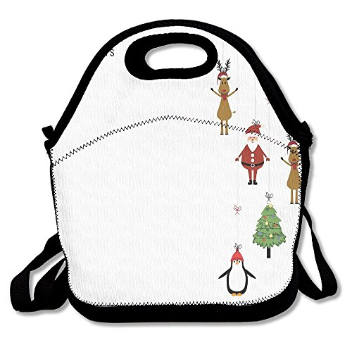 JingleBoo Stylized Reindeers Santa Claus Penguins And Xmas Tree On Stripes Lunch Tote Bag For Men Women Kids - Kichler Santa