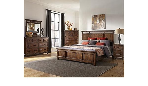 Intercon Wolf Creek Rustic Vintage Acacia Panel Bed Set Queen