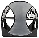 Pet Life Kitty-Play' Collapsible Travel Interactive Kitty Cat Tree Maze House Lounger Tunnel Lounge, One Size, Grey & Black