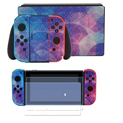 Taifond Full Set Faceplate Skin Decal Stickers for Nintendo Switch with 2Pcs Screen Protector (Console & Joy-con & Dock & Grip) (Nebula Lilac)
