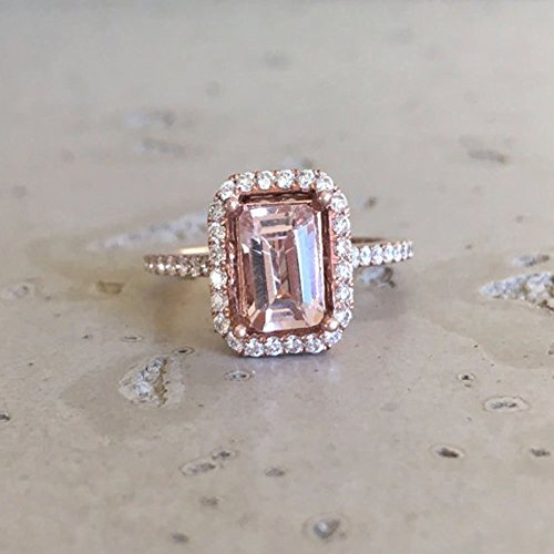 Emerald Morganite Engagement Ring- Rose Gold Promise Ring- Halo Diamond Morganite Ring- Alternative Pink Engagement Ring- Nontraditional Conflict Free Ring