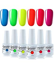 Vishine Gel Nail Polish Starter Kit - 6PCS Neon Yellow Green Orange Red Gel Nail Varnish Soak Off Bright Color UV LED Manicure Gift Set 8ML