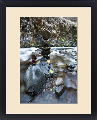 Framed Print of Stacked rock formations in the South fork of the Walla Walla River by Fine Art Storehouse