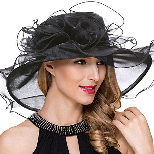 Women Derby Church Dress Wide Brim Ruffles Tea Party Organza Hats S042b (S019-Black) - Ruffle Cap