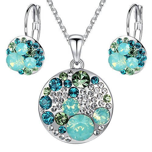 Leafael Ocean Bubble Women's Jewelry Set Made with Swarovski Crystals Emerald Green Opal Green Costume Fashion Pendant Necklace Earring Set, Silver Tone, 18