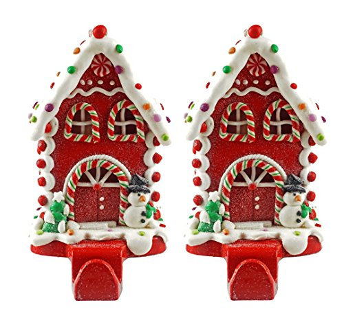 - Caffco Gingerbread House Christmas Stocking Holder - Set of 2 (Peppermint Snowman)