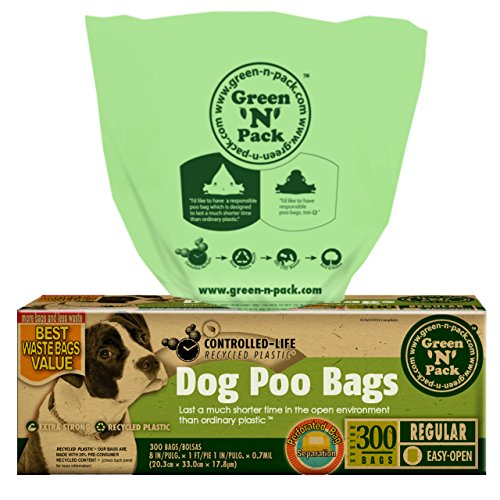 Green 'N' Pack Premium Pet Waste Bags (BPA Free), for Pantries and Outdoor Waste Stations, 300-Count by Green 'N' Pack
