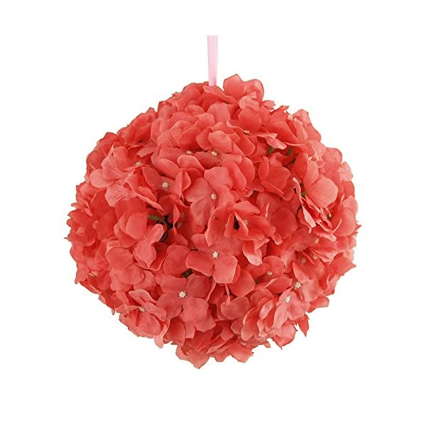 Homeford FNS000008573CRAL Silk Hydrangea Flower Kissing Balls Center Count, 10″, Coral
