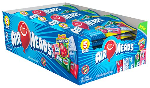 Airheads Van Melle (AirHeads Candy Variety Pack, 5 Individually Wrapped Assorted Fruit Bars, Party, 2.75 Ounces (Bulk Pack of 18), 49.5 Ounce)
