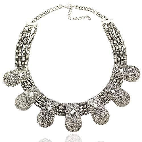 RechicGu Tribal Vintage Silver Cleopatra Nefertiti Mayan Aztec Bead Chain Bib Necklace]()