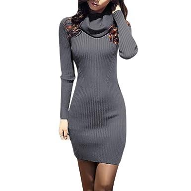 Damen Strick Kleid Winter Warm Lang Strickkleid Pullover Slim fit Einfarbig  Gestrickt Winterkleid Elegant, Schwarz Grün Grau.  Amazon.de  Bekleidung a96df79b94