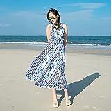 XIURONG Long Skirt Striped Chiffon Seaside Holiday Dress Xl Blue