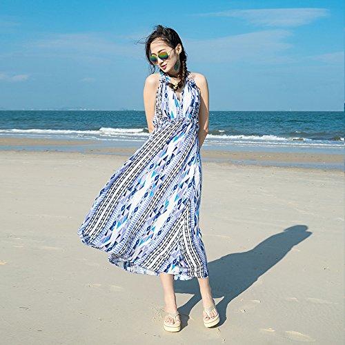 XIURONG Long Skirt Striped Chiffon Seaside Holiday Dress Xl Blue by XIU*RONG
