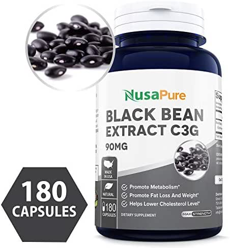 Black Bean Extract C3G 90mg 180caps (Non-GMO & Gluten Free) Superior Fat Burning Properties Increases Your Metabolism