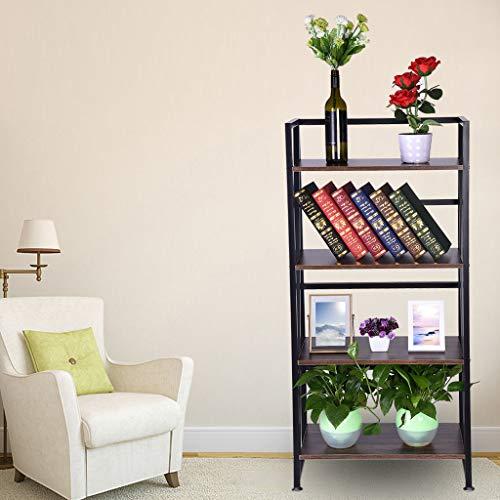 Maikouhai 4-Tier Bookshelf, Sturdy Bookcase Book Case Rack Home Office Shelf Storage Rack No-Assembly Industrial Stand Organizer - 23.6x11.8x49.4 Inch