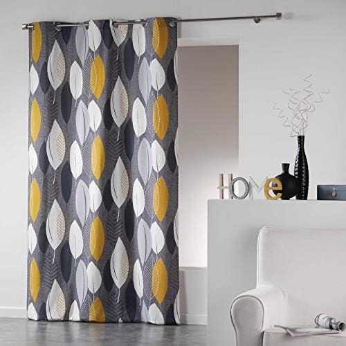 Coton d'Interieur tenda a occhielli in cotone, Cotone, giallo, 240×140 cm