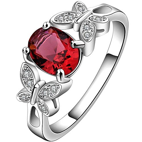 LWLH Jewelry Womens 925 Sterling Silver Plated Butterfly Oval Cubic Zirconia CZ Engagement Wedding Ring Red Szie (Black Butterfly Ring)
