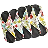 Sanitary Reusable Cloth Menstrual Pads by Heart Felt | 5 Pack Washable Sanitary Napkins with Charcoal...