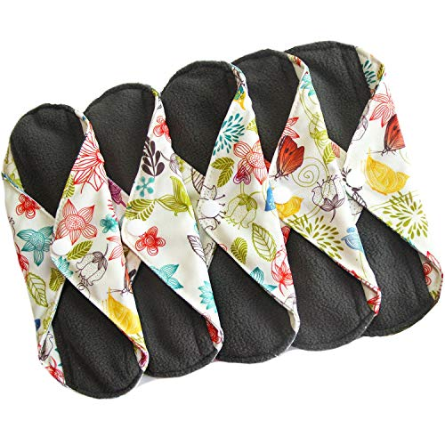 Cloth Maxi Pads - Sanitary Reusable Cloth Menstrual Pads by Heart Felt | 5 Pack Washable Sanitary Napkins with Charcoal Absorbency Layer - Overnight Long Panty Liners for Comfort and Support