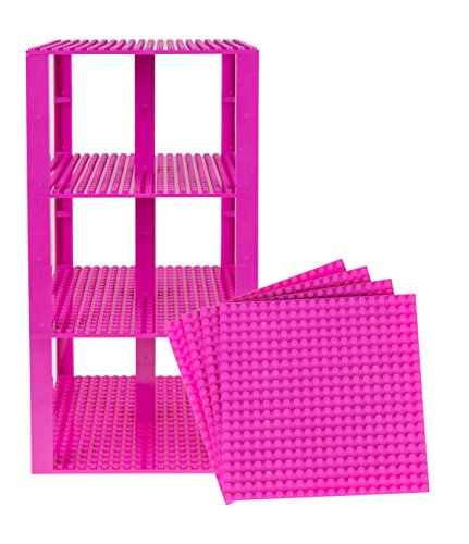 Strictly Briks Classic Baseplates 6 x 6 Brik Tower 100% Compatible with All Major Brands   Building Bricks for Towers and More   4 Magenta Stackable Base Plates & 30 Stackers