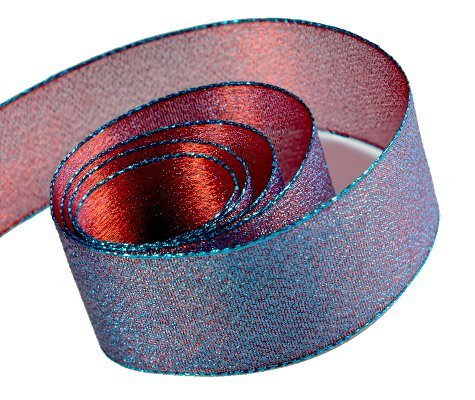 (Papillon Ribbon & Bow R097045-38-COM4-50YD 1.5 in. 50 Yards Precious Frost Metallic Cross Weave Ribbon With Wire Edge44; Royal & Red)