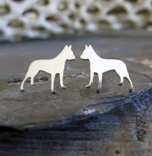 Pit Bull American Staffordshire Terrier pitbull earrings polished sterling silver tiny dog studs. Handmade in the ()