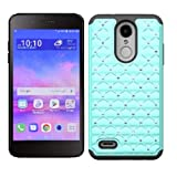 LG Rebel 4 Case, LG (Rebel 4) 4G LTE Case, Phone Case for Straight Talk LG Rebel 4 Prepaid Smartphone, Studded Rhinestone Crystal Bling Cover Case (Teal)
