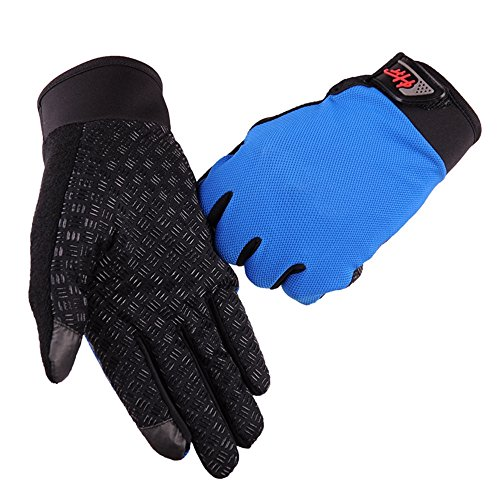 Cycling Gloves Bicycle Gloves CapsA Mountain Bike Gloves - Anti Slip Shock Absorbing Padded Breathable Full Finger Short Sports Gloves Accessories for Men Women (M, Blue)