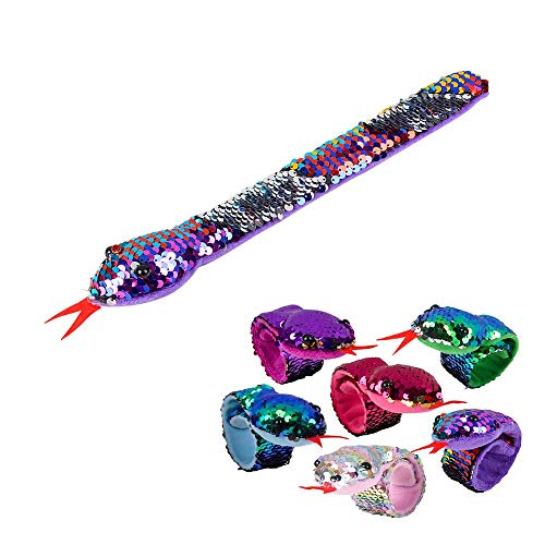 Mozlly Reversible Rainbow Flip Sequin Snake Slap Bracelets, 11 inch Magical Glitter Color Changing Fashion Friendship Jewelry for Girl Kid for Stocking Basket Stuffer, Party Goody Bag Favors (6 Iems) ()