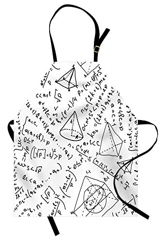 Lunarable Geometric Apron, Mixed Math Numbers Circle Triangle Angle Genius School Science Sketch Design, Unisex Kitchen Bib Apron with Adjustable Neck for Cooking Baking Gardening, Black ()