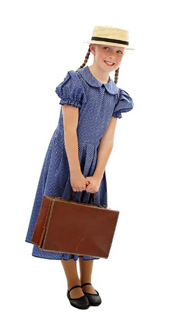 Classic Blue Edwardian Polka DOT Dress ONLY 1940'S-WW2-Wartime-NARNIA-World Book Day - All Ages (Age 11-13) by CL COSTUMES