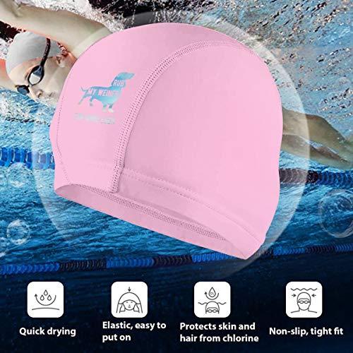 Angkella Bellamy Blue Rub My Weiner Dog Swim Cap, High Elasticity Swimming Cap Keeps Hair Clean Breathable Fit Both Long Hair Short Hair