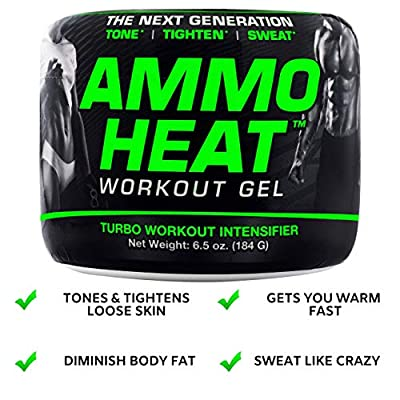 AmmoHeat | Thermogenic Fat Burner and Skin Tightening Topical Gel | Sweat and Weight Loss Intensifier - Tone, Tighten, and Sweat | Made with ShapePerfection Collagen Capsaicin
