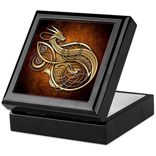 CafePress - Gold Norse Dragon - Keepsake Box, Finished Hardwood Jewelry Box, Velvet Lined Memento Box