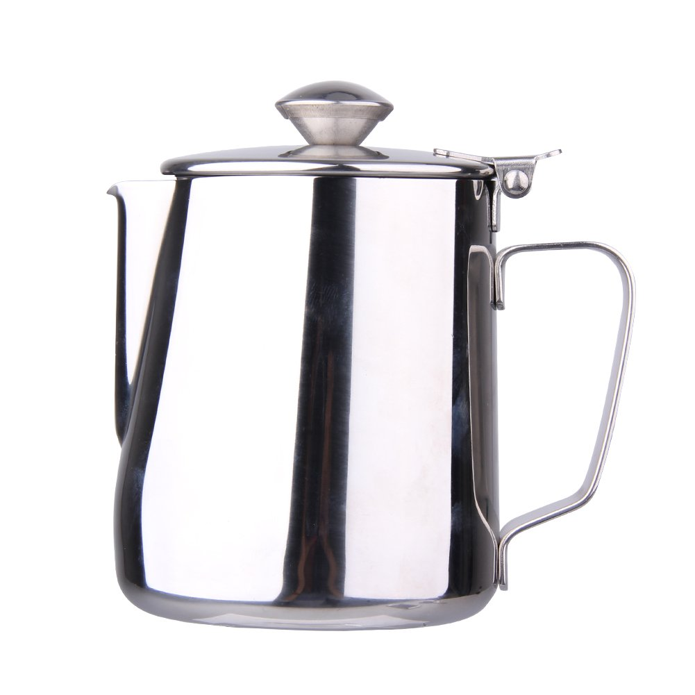 Whitelotous 34oz / 1000ml Stainless Steel Frothing Pitcher Milk Coffee Tea Jug, Milk Pitcher Suitable for Coffee, Latte & Frothing Milk
