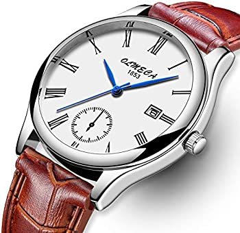 Olmeca Waterproof Unisex Fashion Quartz Watch with Brown Leather