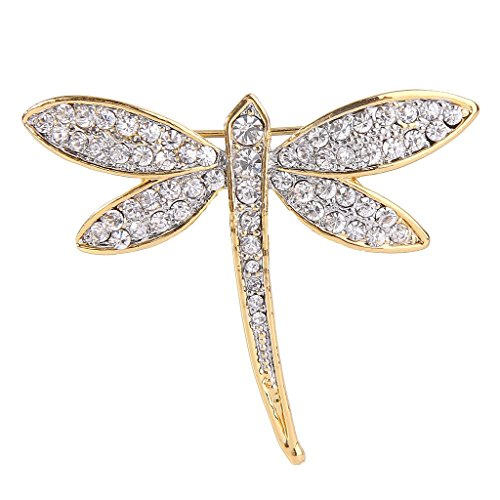 (EVER FAITH Women's Austrian Crystal Gorgeous Dragonfly Insect Brooch Pin Clear Gold-Tone)