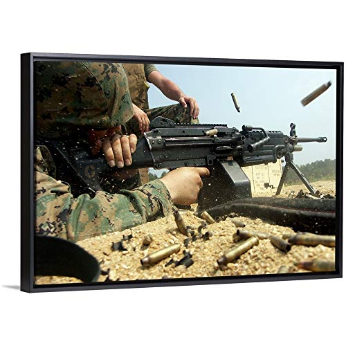 (Stocktrek Images Floating Frame Premium Canvas with Black Frame Wall Art Print Entitled A Marine engages Targets with an M249 Squad Automatic Weapon 36