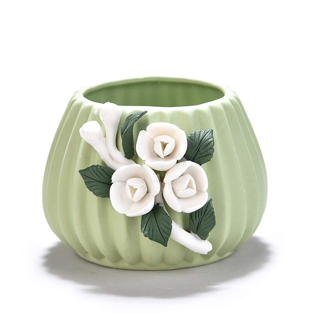 Better-Way Lily Flowers Round Windowsill Ceramic Flower Pots Succulent Planter Orchid Plant Container Patio Garden Planter Decorative Planters for Indoor Plants 4 inch Green