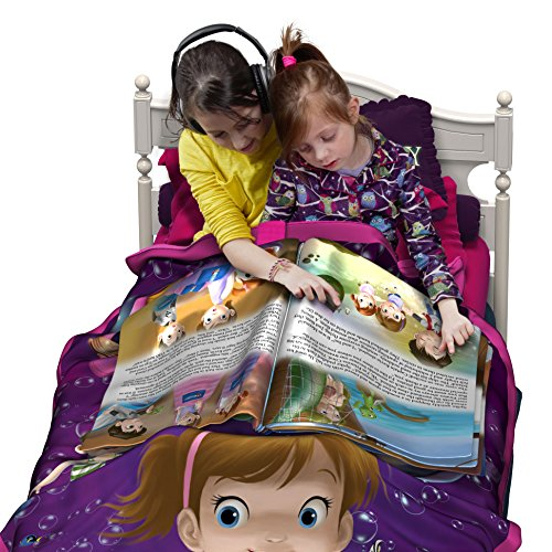 Kids Blanket with Bedtime Stories NEW - Twin Size Mermaid Blanket for Kids + Large Fabric Bedtime Story Book + FREE Audio Book - Gift Idea For Girls (Purple & Pink)