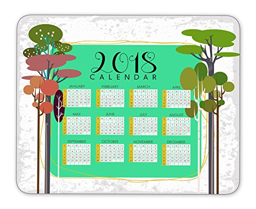 2018 calendar and plant wall background mouse pad, Natural Rubber Mouse Pad, Quality Creative Wrist-protected Wristbands Personalized Desk, Mouse Pad (9.5 inch x 7.9 inch)