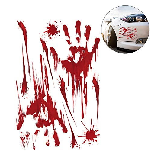 Fansport Halloween Car Sticker Scary Bloody Hands Pattern Removable Car Sticker Decal
