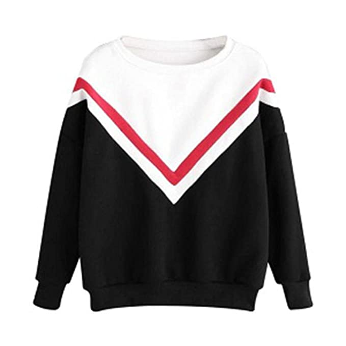 39f55f70e1 Sudadera Mujer, ❤️Xinan Camiseta de manga larga con apliques bordados para  mujer Sudaderas con capucha Blusa rosa Jersey Blusa de patchwork casual para  ...