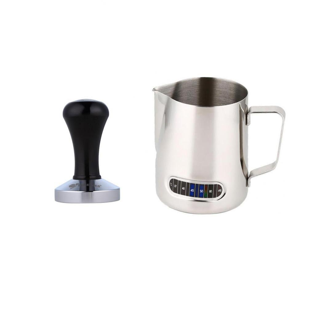 MagiDeal Coffee Tool Milk Frothing Pitcher Jug with Thermometer Espresso Tamper 58mm STK0119386227
